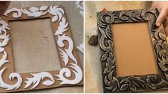 Diy Crafts For Gifts, Diy Home Crafts, Diy Arts And Crafts, Frame Crafts, Diy Frame, Photo Frame Design, Pottery Painting Designs, Decoupage Art, Newspaper Crafts