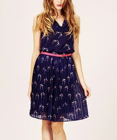 Take a look at this Navy & Pink Flamingo Pleated Belted Dress by Sugarhill Boutique on #zulily today!