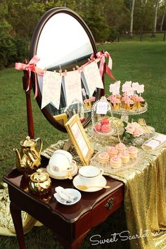 Pink and Gold Dessert Table...made for moms day but what fun we could have for a shower!