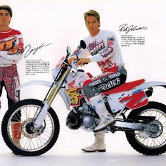 Jean-Michel Bayle and Rick Johnson with Honda's ultra-cool and ultra unobtainable in the US CRM250R for 1991 #CRForTheStreet #HowCoolWouldThisBe #TheRestOfTheWorldGetsTheCoolShit #TwoStrokesRule
