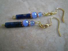 Lapis Lazuli Earrings Gemstone Copper Stormy Sky by chicagolandia, $13.00