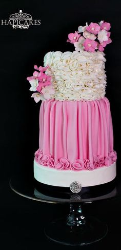 Pink Ruffles Wedding Cake ~ Bridal gown inspired