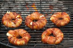 Bacon-wrapped Pineapple - Onion - Mozzarella Rings (a.k.a. Bacon Donuts).  Perfect for breakfast on the river!