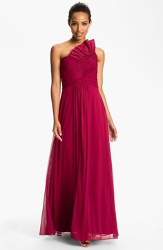 Adrianna Papell Origami Pleat One Shoulder Mesh Gown in Red (cardinal) $168