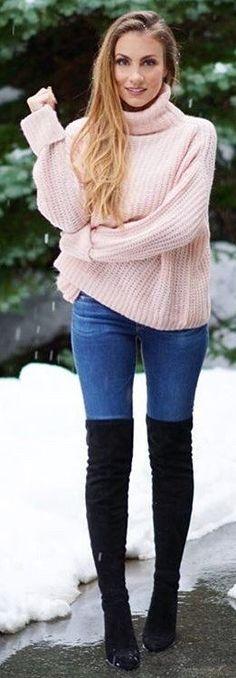 Pink Turtleneck + Skinny Jeans + Black OTK Boots