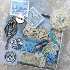 Light Blue Embellishment Inspiration Kit, Box 52...vintage, contemp adornments...Gift Kit...collage, crazy quilting, mixed media supplies
