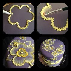 brush embroidery cake with yellow flowers Brush embroidery: a cake decorating technique that is so elegant, and so easy! You'll simply an already-covered cake, a paintbrush, and some thinned buttercream icing in an icing bag (the sma… Decoration Patisserie, Dessert Decoration, Cookie Cake Decorations, Flower Decorations, Cake Decorating Tips, Cookie Decorating, Cupcake Decorating Techniques, Cake Decorating For Beginners, Decorating Supplies
