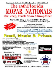 Check out this year's 29th Annual Florida MOPAR Nationals Car Show and Swap Meet on March 5 at University Dodge! #Florida #CarShow #Events #Mopar #Cars