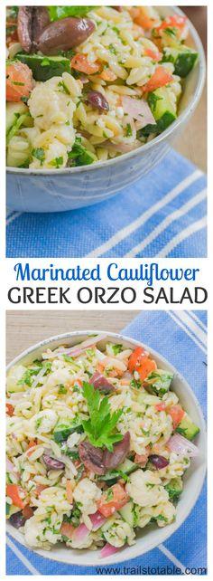 Marinated Cauliflower Greek Orzo Salad. A medley of lemon marinated cauliflower and Greek style orzo pasta salad that is bursting with flavor!