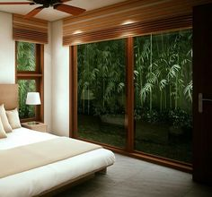 Guest bedroom with view of the bamboo against the wall Modern Filipino Interior, Modern Filipino House, Modern Tropical House, Tropical Houses, Loft Interior Design, Interior Exterior, Home Decor Bedroom, Modern Bedroom, Bungalow Landscaping