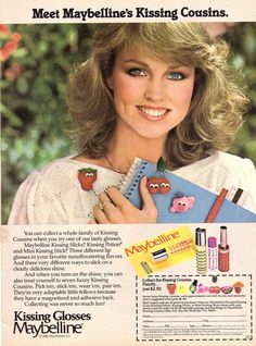 """""""Meet Maybelline's Kissing Cousins."""" Kissing Glosses Maybelline Vintage advertisement from If I remember right I think this is Linda Carter's niece. 1980s Makeup, Vintage Makeup Ads, Retro Makeup, Vintage Beauty, Vintage Ads, Vintage Designs, Vintage Trends, Vintage Ephemera, Vintage Shoes"""