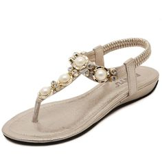 Wendy_my @ Women's Studded Pearl Rhinestone Cut Out Dress Flat Thong Sandals >>> You can get more details by clicking on the image.