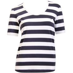 Armani Jeans White/Navy Striped T-Shirt ($91) ❤ liked on Polyvore featuring tops, t-shirts, shirts, blusas, stripes, logo t shirts, navy blue shirt, striped t shirt, navy blue striped shirt and white tee