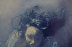 """Deception 24"""" X 36"""" oil on canvas (Available)  The story point ... Sarah is numb, blindsided by the depth of deception played against her and her entire family. Her situation is not an accident at all. While she fought for life, others were plotting for power. In the distance she hears her father calling, but she dives deeper into the kelp forest to hide. She needs time to think."""