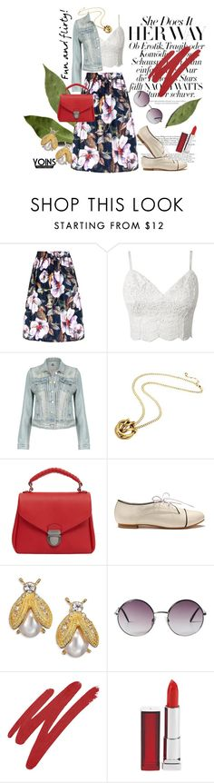 """""""YOINS: Floral Skirt"""" by paisleywest ❤ liked on Polyvore featuring MANGO, Kenneth Jay Lane, Monki, NARS Cosmetics, Maybelline, women's clothing, women, female, woman and misses"""