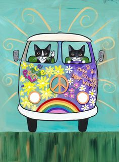 forgotten abandoned pick up truck by patricia ann rizzo misspatricia painting on artfire Happy Hippie, Hippie Love, Hippie Chick, Combi Hippie, Woodstock, Animal Sketches, Animation, Cat Drawing, Dot Painting