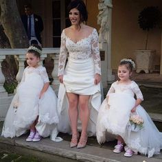 Flower girl dress, White Tulle Off the Shoulder Princess Kid's Wedding Gowns with Half Lace Sleeves,pageant dress for girls Flower Girls, Princess Flower Girl Dresses, Cute Wedding Ideas, Wedding With Kids, Wedding Stuff, Dream Wedding, Girls Pageant Dresses, Cinderella Dresses, Party Gowns