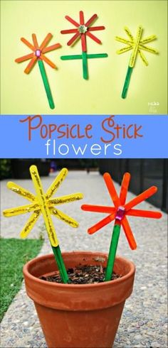 This fun summer craft is a great way to reuse Popsicle sticks. My kids loved making these Popsicle Stick Flowers! #OriginalPopsicle #ad