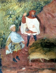 the November fresco at Castello Buonconsiglio, c. 1405-1410 (the guy in blue coat looks like he has sth on his hands)