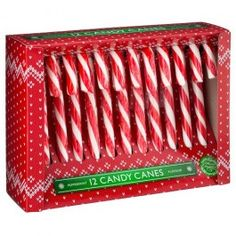 Peppermint flavour candy canes, individually wrapped in a box.