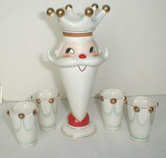 1960 Holt Howard Santa Bottle w 4 Shot Glasses Set