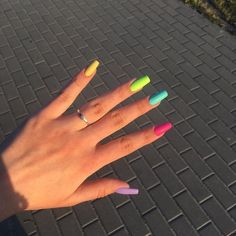 In look for some nail designs and some ideas for your nails? Here's our listing of must-try coffin acrylic nails for fashionable women. Summer Acrylic Nails, Best Acrylic Nails, Acrylic Nail Designs, Spring Nails, Summer Nails, Aycrlic Nails, Swag Nails, Coffin Nails, Yellow Nails