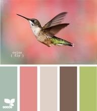 Hummingbird Palette - LOVE this! I was thinking coral-esque for the living room/kitchen, but maybe this green with accents of the pink brown would be perfect..