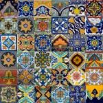 Mixed Talavera tiles in lots of 100.  From http://mexican-tile.net/mexican-backsplash-tiles-P2330053.aspx#
