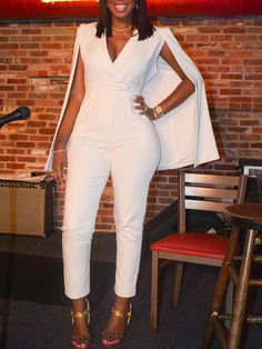 White Cape Jumpsuit Sleeveless Cape Design Comfortable Fabric Fabric: Cotton Poly Blend Size: S, M, L, XL Color: White Only All White Party Outfits, White Outfits For Women, All White Outfit, Classy Outfits, Chic Outfits, Fashion Outfits, Clothes For Women, Womens Fashion, Cheap Clothes