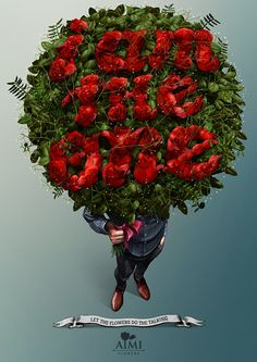 AIMI Flowers: Let the flowers do the talking - Gute Werbung Zbrush, Big Bouquet Of Flowers, Ad Of The World, Photoshop, Best Ads, Types Of Lettering, Creative Advertising, Advertising Agency, Flower Quotes