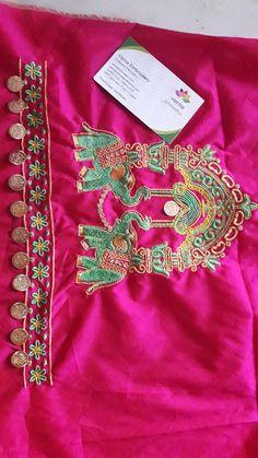 Kasu embroidery designs Magam Work Designs, Kutch Work Designs, Hand Designs, New Embroidery Designs, Embroidery Works, Hand Embroidery, Hand Work Blouse Design, Stylish Blouse Design, Wedding Saree Blouse Designs