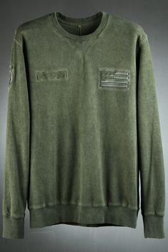 Stars and Stripes Decorated Custom Washed Fabric Sweatshirts