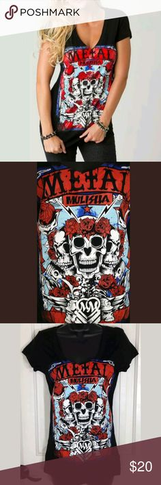Metal Mulisha Boyfriend Tee Oneill SM Metal Mulisha Boyfriend Tee Womens Oneill Black Short Sleeve V Neck Skull & Roses Graphics Black Motorcycle Shirt Top Size S Small - Brand new without tags from Oneill Sample Sale. Please view all of my other Graphic Tees for Men & Women.....Enjoy!   MSRP $30.00 O'Neill Tops Tees - Short Sleeve