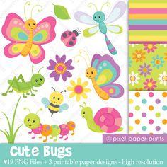 Cute bugs Clip Art and Digital Paper Set by pixelpaperprints. $5.00, via Etsy.