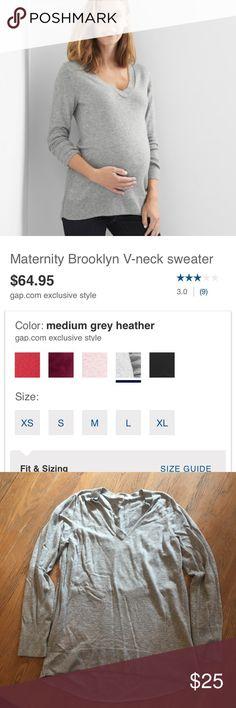 Gap Brooklyn maternity sweater Gap Brooklyn maternity sweater. Gray, size medium, worn twice GAP Sweaters V-Necks