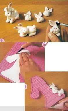 МК детский торт с единичкой и зайчиками -First birthday cake with bunnies - Мастер-классы по украшению тортов Cake Decorating Tutorials (How To's) Tortas Paso a Paso