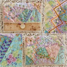 I ❤ crazy quilting, beading & embroidery . . . Bag and lavender cushions ~By Astrid, Magical World: Crazy Patchwork