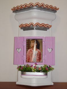 telha decorativa moldura rosa