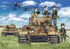World War 2 is so fascinating, even anime makes good use of this theme Anime Military, Military Girl, Guerra Anime, Ww Girl, Anime Krieger, Anime Warrior, World Of Tanks, Girls Frontline, Tank Girl
