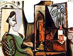 Jacqueline dans l'atelier de la Californie, Pablo Picasso, 1956.