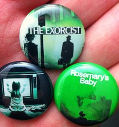 3 BUTTON SET HORROR MOVIES POLTERGEIST ROSEMARYS BABY THE EXORCIST SCARY FILMS $4.00