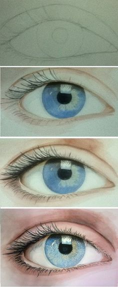 draw eye by kimerajam - awesome eye drawing tutorial - how to draw eyes #artsketches Portrait Au Crayon, Pencil Portrait Drawing, Pencil Art, Pencil Drawings, Art Drawings, Drawing Portraits, Horse Drawings, Realistic Eye Drawing, Drawing Eyes