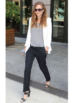 LOULOU Shopping - Elizabeth Olsen's casual elegance  - Inspiration - Give your denim the day off with this smart alternative for daytime dressing. Elizabeth Olsen shows you how.