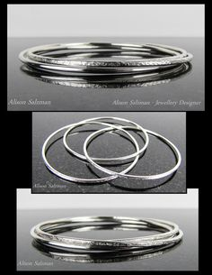 Russian sterling silver interlocked bangle set, featuring two raw silk textured bangles and one high shine bangle. the Raw Silk Collection - Alison Salzman - Jewellery Designer