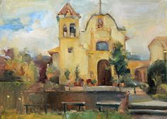 San Carlos Cathedral (Royal Presidio Chapel, Monterey, CA) by Jill Banks Oil ~ 12 x 16 California Art, Banks, Cathedral, Houses, Oil, Painting, San Carlos, Painting Art, Paintings