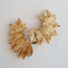 Vintage Painted Celluloid Maple Leaf Earrings by ReadyMadeJewelry, $52.00