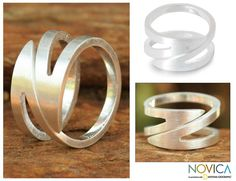 Modern Sterling Silver Band Ring - New Moon Comet | NOVICA