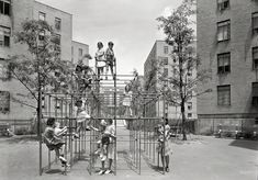 """The Asphalt Jungle Gym: July """"Vladeck Houses, Madison Street, New York City."""" The Baruch Charney Vladeck Houses on the Lower East Side. New York City Photos, New York Pictures, Vintage Photographs, Vintage Photos, Lower East Side Nyc, Shorpy Historical Photos, New York Architecture, Jungle Gym, Urban Life"""
