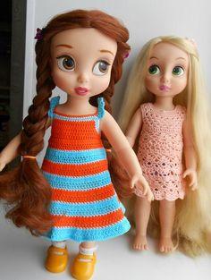 Doll Clothes / Disney Animator Dolls Belle and Rapunzel / Crochet