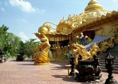 Suoi Tien Cultural Theme Park. Located next to a garbage dump, the amusement park, which opened in 1995, is full of huge sculpted dragons, tortoises, phoenixes, and Buddhas. Employees dressed as golden monkeys scamper around the grounds, tasked with creating mischief.